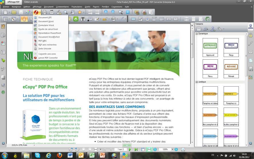 eCopy PDF Pro tableau