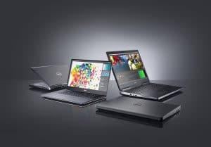 Four Dell Precision mobile workstation computers arranged in a circle. A 7710 (Miramar) is shown on the far right, a Precision 3510 (Park City P) is shown closed, facing left, the Precision 5510 (Berlinetta Precision) is shown open 90 degrees facing left and a Precision 7510 (Miramar) is shown on the far left, open 45 degrees.